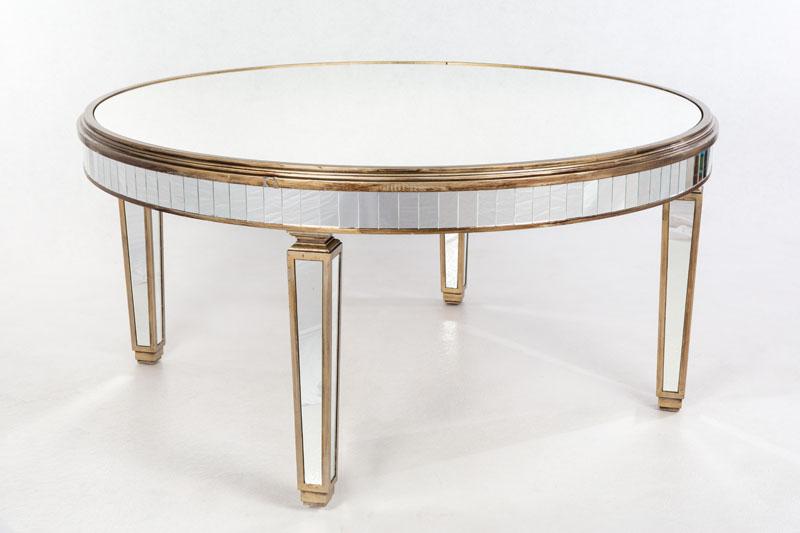 Mesa espejo y madera dorada redonda estilo art deco para for Mesa 8 comensales