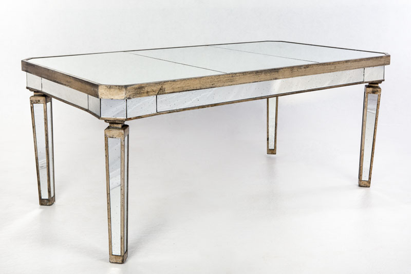 Mesa de espejo con madera dorada y de estilo art deco para for Espejos para mesa