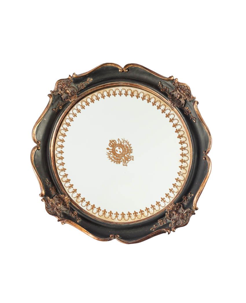 Bajoplato de espejo y marco negro con adornos dorados - Espejo marco negro ...